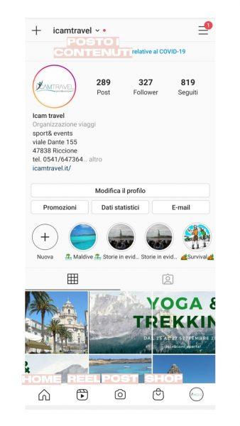 Caricamento contenuti Instagram settembre 2020