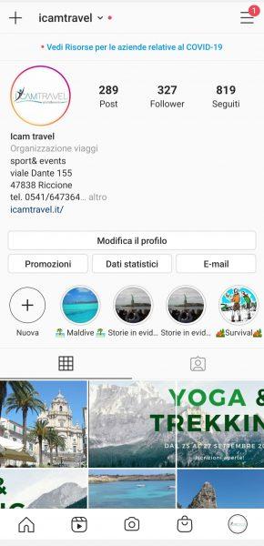 Interfaccia versione 1 Instagram Settembre 2020
